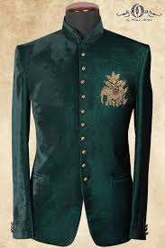 Jodhpuri Jackets Indian Designers Teal Green Velvet Zardosi Embroidered Jodhpuri Suits St684