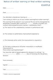 Notice Of Written Warning Or Final Written Warning Template