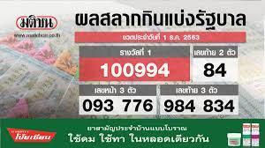 ตรวจหวย ผลสลากกินแบ่งรัฐบาล งวดวันที่ 1 ธันวาคม 2563 (สด)