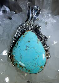 turquoise pendant native american made in sterling silver heaven nature