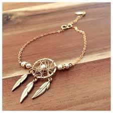 Dream Catcher Gold Bracelet Gold Filled Bracelet Bracelet With Pearls Bracelet With Unique 18