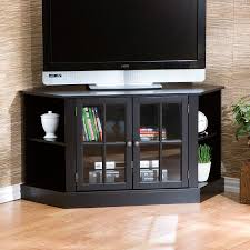 small black corner tv stand with shelves and bookcase glass doors