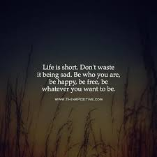 Short Quotes About Life Mesmerizing Positive Quotes Life Is Short Don't Waste It Being Sad Be Who