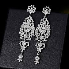 long diamante rhinestone crystal drop dangle chandelier earrings wedding
