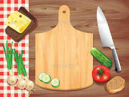 kitchen table with food. Cutting Board On Wooden Table With Food - Objects Kitchen 0
