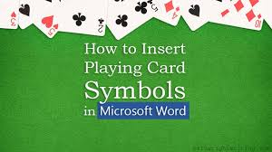 how to insert playing card symbols in