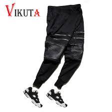 whole new hot men zip leather pant detachable men s pants pencil jogger pants zipper faux