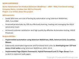 ... 7. WORK EXPERIENCE Senior Automation Test Analyst (Selenium ...