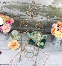 Tea Cup And Saucer Display Stand Gold 100 Tier Coated Metal Vintage Tea Cup and Saucer Display Stand 27
