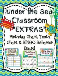 Under The Sea Birthday Chart Under The Sea Classroom Extras Birthday Chart Tooth