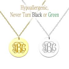 details about personalized monogram initial name circle pendant necklace custom engraved stain