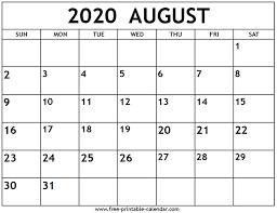 August 2020 Calendar Free Printable Calendar Com