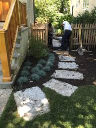 flagstone landscaping. Flagstone Stepper Path Blue Fescue Dwarf Korean Lilac Landscaping