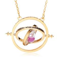 time turner rotating hourglass pendant necklace gold silver