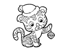 Disegno Di Tigre Di Natale Da Colorare Acolorecom