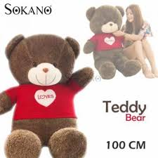sokano 1 meter giant bear with love red shirt best birthday and valentine gift msia