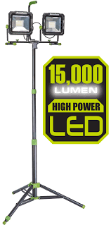 Led Dual Head Work Light With Tripod Powersmith 60 Watt 6000 Lumens Led Dual Head Work Light