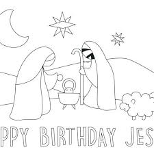 Happy Birthday Jesus Coloring Pages Printable Birthday Coloring Page