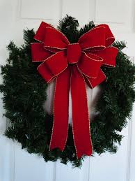 12 Red Velvet Christmas Bow Indoor / Outdoor Large