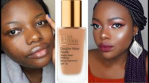 estee lauder double wear foundation for dark skin review demo