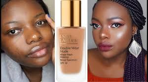 estee lauder double wear foundation for dark skin review demo