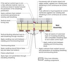 plan view of electric wiring for light fixture installed in exterior wall showing flashing and air