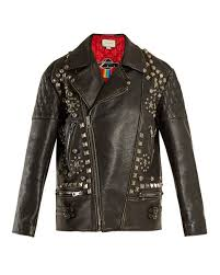 for womens gucci stud embellished oversized distressed in leather jacket black show