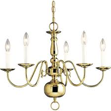 progress lighting americana collection 24 in 5 light polished brass chandelier