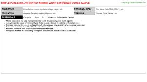 Public Health Dentist Resume | Resumes Templates ...