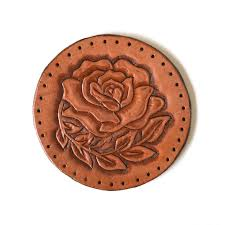 rose sew on leather patch