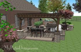 creative brick patio design with pergola hot tub seat walls and grill station bar 775 sq ft installation plan how to aterial list