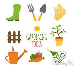 8 cartoon gardening tools vector