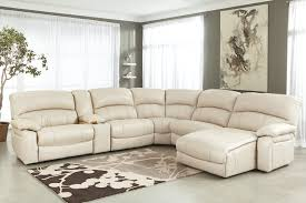 White Leather U Shaped Sectional Sofa With Floral