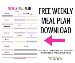 Weekly Menu Weekly Meal Plan Download | The Bewitchin' Kitchen
