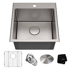 Kraus Standart Pro Drop In Stainless Steel 18 In 1 Hole Single Bowl Kitchen Sink