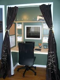 small closet office ideas. Awesome Smartly Closet Turned Office Creative Design And Ideas Magnificent Dark Silk Curtains For Room Small Space T