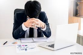 Problem At Work Depressed Failure And Tired Businessman Late Sad And Solving Problem