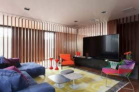 ... Colorful TV room in Brazilian home is part of a larger living space  [Design: