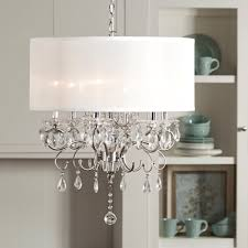 drum shade chandelier with crystals attractive white fabric crystal modern perfect full size of 16