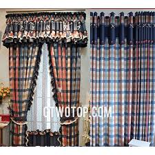 country dark blue red and beige plaid curtains with beautiful lace no include valance
