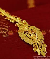Gold Nethichutti Designs Ncht05 Medium Size Gold Plated Traditional Nethi Chutti