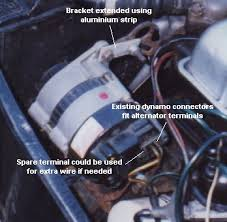 """dynamo to alternator conversion triumph owners club christchurch obviously if you have """"proper"""" alternator mounting brackets you would use those but our mounting shows that it can be done the dynamo brackets and"""