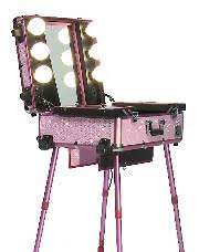 studio makeup case w lights mirror legs pink bling