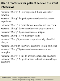 ... 14. Useful materials for patient service assistant ...
