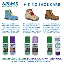 nikwax footwear care chart
