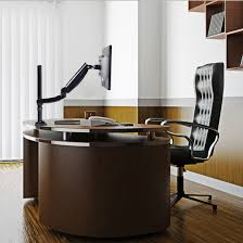 office with wooden furniture and big window