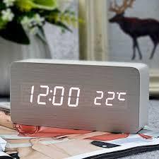 FiBiSonic Wooden Digital LED Alarm Clock Reloj Despertador Sound Control  Temperature Bedroom Decor Electronic Desk Table