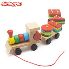 simingyou small wooden train toys dragging three carriage geometric shape matching early childhood educational train set mzw5 high quality toy dinosaur