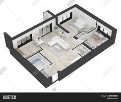 Open Concept 3 Bedroom House Floor Plan Design 3d Floor Plan Home Top Image Photo Free Trial Bigstock