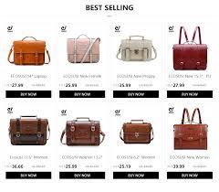 ECOSUSI 13.2 Inch <b>Retro Women Messenger Bag</b> PU Leather Bags ...
